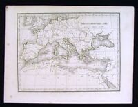 1835 Bradford Map - Mediterranean Sea - Europe Italy Greece Spain North Africa