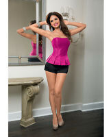 PEPLUM CORSET WITH LACE UP BACK & SIDE ZIPPER PINK Size 32-38