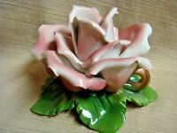 Large PORCELLANE CAPODIMONTE PINK ROSE Candle Holder