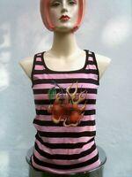 ROCKABILLY Hot Cherry Emo Rosa/Pink Black Stripes TANK TOP T-SHIRT S