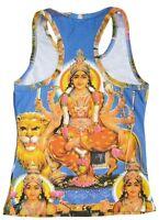 DURGA MATA Lion Hindu Goa Beach Party Dj Tattoo Art Designer TANK TOP SHIRT XS/S