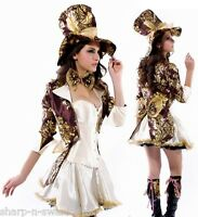 Ladies 6Pc Deluxe Sexy Mad Hatter Alice in Wonderland Fancy Dress Costume Outfit