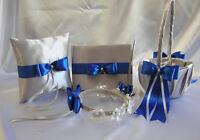 Silver Royal Blue Flower Girl Basket Halo Ring Pillow Guest Book Pen Your Colors