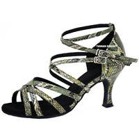 TPS Green Snake Skin Pattern Latin Ballroom Salsa Dance Shoes All Sizes D785