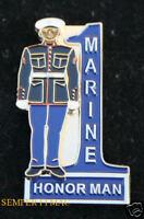 US MARINES DRESS BLUE HAT PIN MCRD 3RD RTBN HONOR MAN GRADUATION GIFT MOM DAD