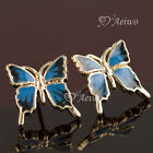 EARRINGS STUD 9K GF 9CT SOLID YELLOW GOLD FILLED BUTTERFLY BLUE AND BLACK