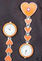 NEW ORANGE HEARTS NURSES BEAUTICIANS FOB WATCHES