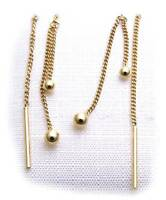 Damen Ohrringe Hänger Kugeln echt Gold 333 Ohrhänger mit Stab Gelbgold