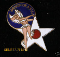 SWINGIN ON A STAR NOSE ART HAT LAPEL PIN UP WW 2 PILOT CREW SOLO GIFT WING L@@K