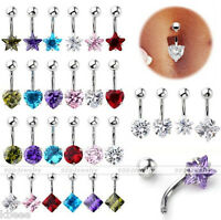 Stainless Steel Cubic Zirconia Gem Bars Belly Navel Button Ring Barbell Piercing
