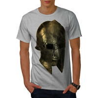 Wellcoda Skull Sparta Warrior Mens T-shirt, Battle Graphic Design Printed Tee
