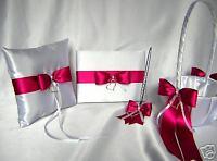 Fuchsia Flower Girl Basket Ring Pillow Guest Book Pen Set Wedding Accessories