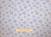Brown Blue White Tree Playday Retro Floral - Robert Kaufman Fabric Cotton YARDS