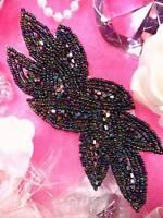 "JB31 Aurora Borealis Black AB Designer Glass Beaded Applique Motif 6"" @ Glory's"