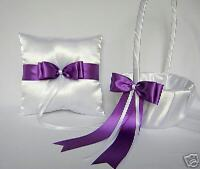 Wedding Accessories Purple Flower Girl Basket Ring Bearer Pillow Your colors