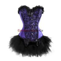 PLUS SIZE Womens Moulin Rouge Burlesque Overbust Corset & Tutu Skirt Fancy Dress