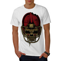 Wellcoda American Football Mens T-shirt, Skull Face Graphic Design Printed Tee