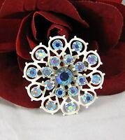 Vintage Blue AB Rhinestone & Enamel Flower Pin Brooch  CAT RESCUE