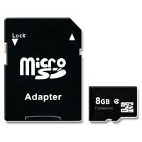8GB MICROSD MICRO SDHC MEMORY CARD WITH SD ADAPTER 8 GB TF HC