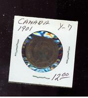 1901 Canada One Cent  large Penny coin # Y 7