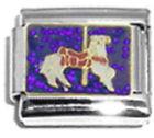 CAROUSEL HORSE Enamel Italian Charm 9mm Link - 1 x AN003 Single Bracelet Link