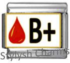 BLOOD GROUP TYPE B+ Enamel Italian Charm 9mm Link- 1x MA012 Single Bracelet Link