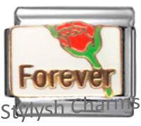 FOREVER LOVE RED ROSE Enamel Italian Charm 9mm - 1x LV077 Single Bracelet Link