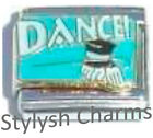 DANCE TOP HAT GLOVES DANCER Enamel Italian Charm 9mm Link - 1x MD037 Single Link