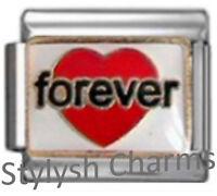 LOVE FOREVER RED HEART Enamel Italian Charm 9mm - 1 x LV089 Single Bracelet Link
