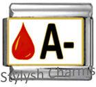 BLOOD GROUP TYPE A- Enamel Italian Charm 9mm Link- 1x MA006 Single Bracelet Link