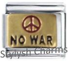 PEACE SYMBOL NO WAR Enamel Italian Charm 9mm Link- 1x NC047 Single Bracelet Link
