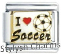 SOCCER I LOVE Enamel Italian Charm 9mm Link - 1 x SP003 Single Bracelet Link