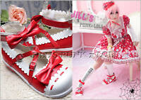 Lolita fantasy Baby Doll KERA Bow Scalloped 8/8.5 Heel 39 Red 2506
