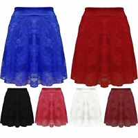 Womens Stretchy High Waist Full Lace Ladies Mesh Flared Mini Short Skater Skirt