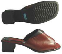JANA Damen Comfort Schlappen rot/schwarz Leder Gr: 37,5 (4,5)  Absatz: 4cm NEU