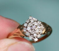LADIES 9CT GOLD FANCY DESIGN 1/3 CARAT DIAMOND CLUSTER RING