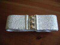 SILVER CLINCH,WASPIE,ROCK&ROLL,GREASE, 50'S BELT LARGE