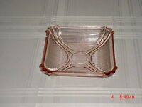 "VINTAGE PINK DEPRESSION PRESSED GLASS 6""  SQUARE RIBBED CANDY DISH"