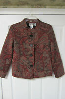 CHICO'S SIZE 0 RED BLACK  JACKET BLAZER BUTTON FRONT 4 MISSES RAYON BLEND