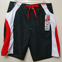Zonal Clothing Black Red & White Stipe Board Shorts - Size 30 - NWT