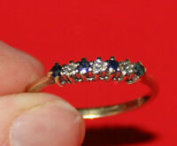 F18 LADIES 9CT GOLD SAPPHIRE AND DIAMOND HALF ETERNITY RING