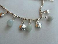 Modeschmuck zweirreihig Silberkette mi grauen Steinen - anschauen 47 - 53 cm NEU