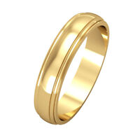 Jewelco London 18ct Yellow Gold 4mm D-Shape Track Edge Wedding Band Ring