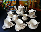 """15 Piece"" Bone European Overglaze White&Gold Coffee Tea Set Teaset"