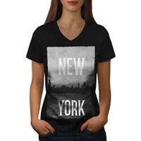 New York Down Town USA Women V-Neck T-shirt NEW | Wellcoda