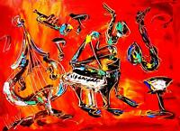 JAZZ MUSIC  MODERN ABSTRACT ORIGINAL OIL PAINTING RTYEYUIL
