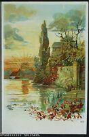 signierte Künstler Ansichtskarte,Sonne,Sonnenaufgang,See,Landschaft,Burg,Schloß