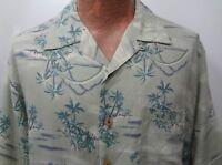 Tommy Bahama Mens M-L Light Green Palm Trees Hawaiian Short Sleeve Rayon Shirt