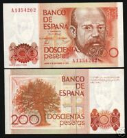 SPAIN 200 PESETAS P156 1980 W/O Prefix # before Let A EURO CROSS UNC MONEY NOTE