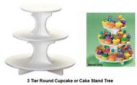 CUPCAKE Cake 3 Tier Tray Round WEDDING Shower Birthday PARTY Dessert Tree Stand